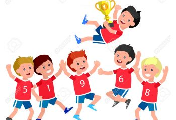 Cute vector character kids sports team wins a golden cup, kids happy winning celebration. Cheerful child. Happy boy kid illustration. Detailed character child. Vector for fun child.